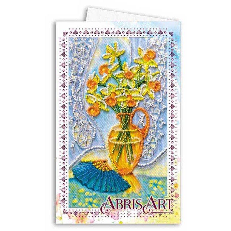 Набір для вишивання мікробісером листівка-конверт Абріс Арт АОМ-001 Натюрморт з віялом