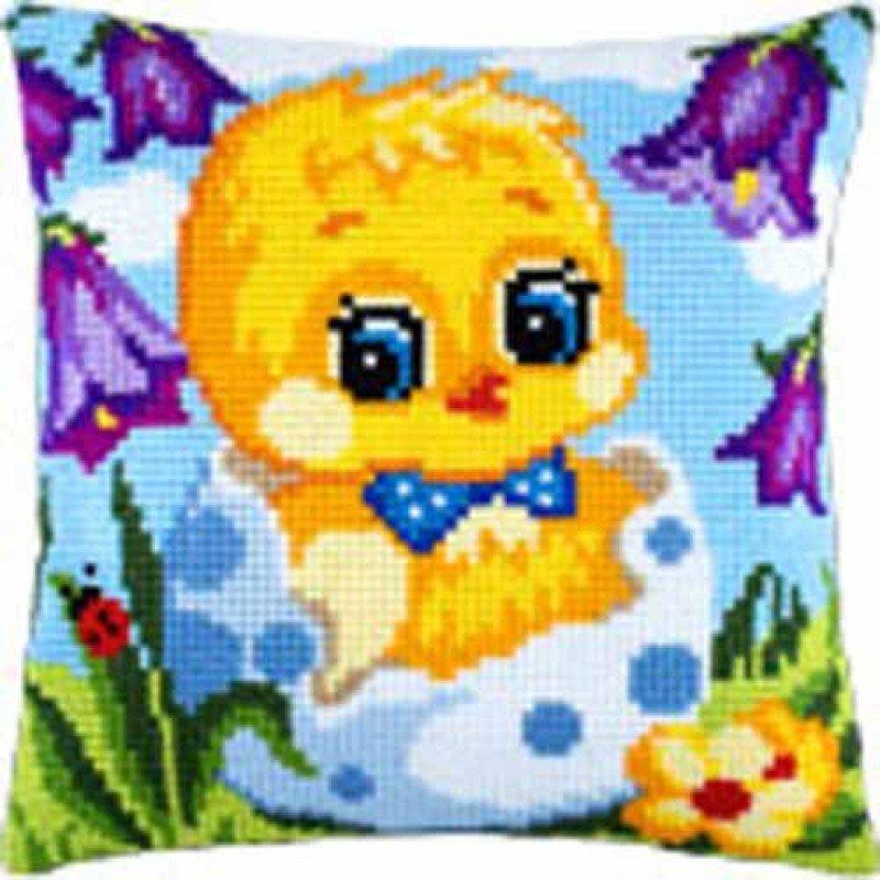 Подушка для вишивки хрестиком Чарівниця Z-32 Тільки з яйця (хлопчик)