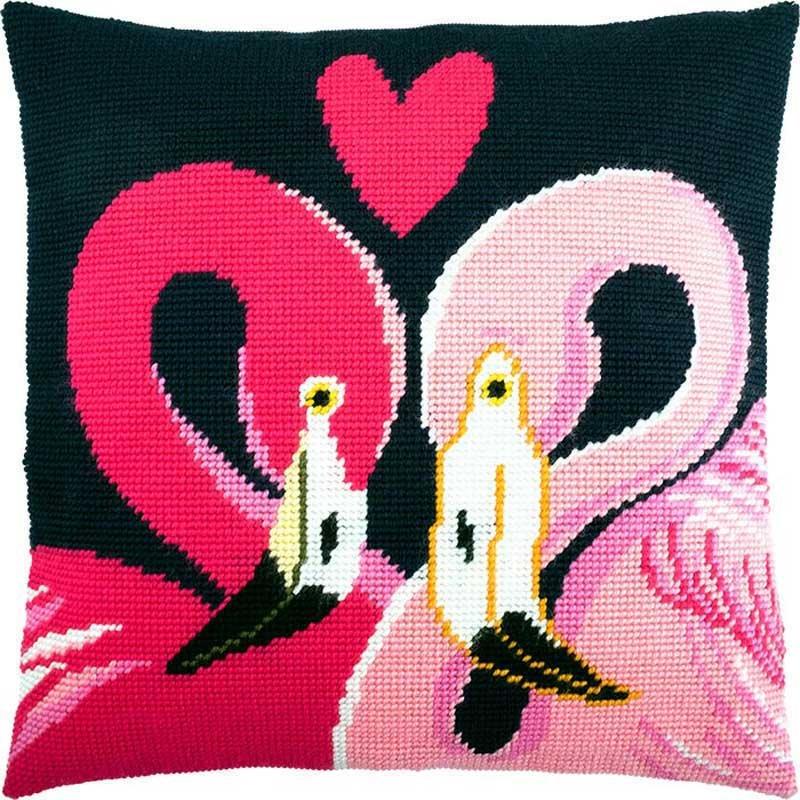 Подушка для вишивки напівхрестом Чарівниця V-222 Два фламінго