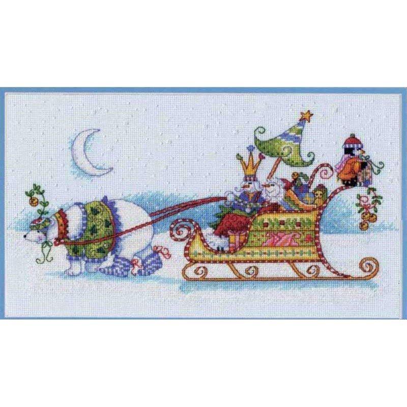 Набір для вишивання хрестиком Dimensions 70-08864 Сніговий ведмідь і сани