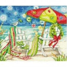 Набір для вишивання хрестиком Dimensions 70-08948 Різдвяні пляжні стільці
