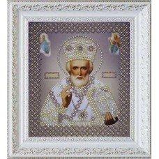 Набір вишивки бісером Картини Бісером Р-269 Ікона св. Миколи Чудотворця (срібло)