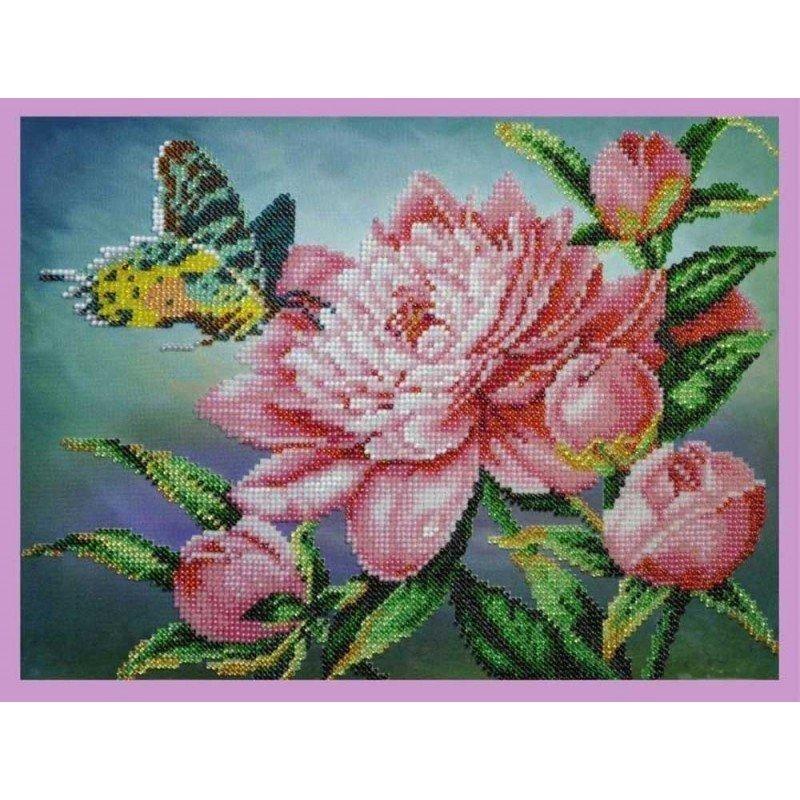 Набір вишивки бісером Картини Бісером Р-287 Півонія з метеликом
