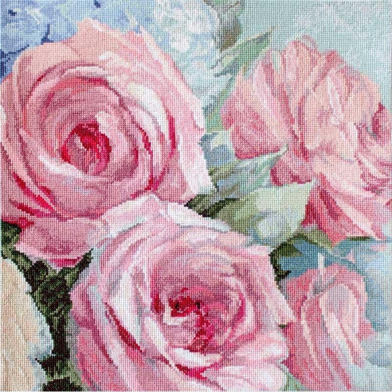 Набір для вишивки хрестиком LetiStitch LETI 928 Блідо-рожеві троянди