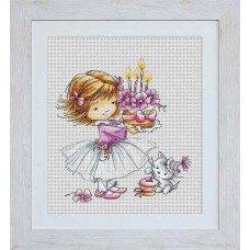 Набір для вишивання хрестиком Luca-S B1054 Дівчинка з кошеням і тортиком