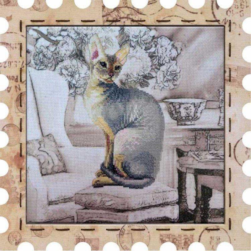 Набір для вишивки нитками на канві з нанесеним фоновим зображенням Нова Слобода КО4037 Коте Клеопатра